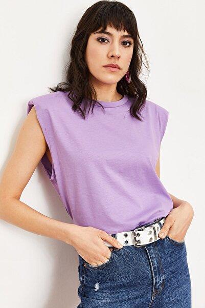 Bianco Lucci Kadın Mor Vatkalı Penye Basic T-shirt