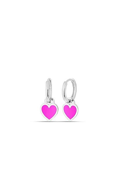 MySilvers Pembe Neon Gümüş Kalp Küpe