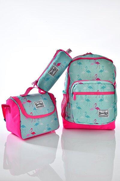 Coral High 23111 Flamingo Desenli 3'lü Okul Çantası Seti
