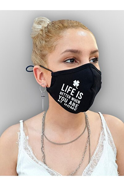 MOF Yonca Ve Yazı Baskılı Siyah Maske