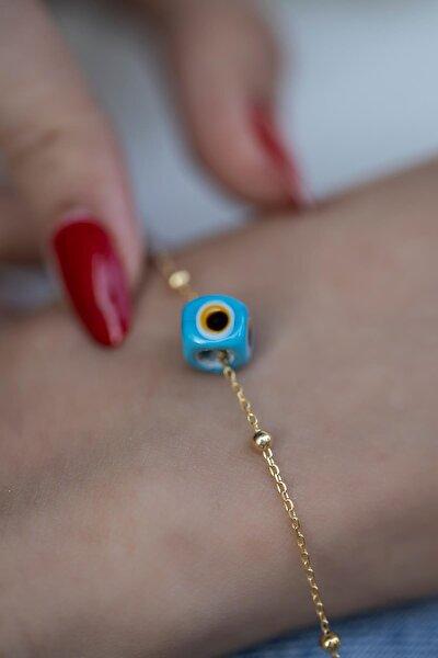 İzla Design Mavi Nazarlık Model Altın Kaplama Toplu Zincir Gümüş Bileklik