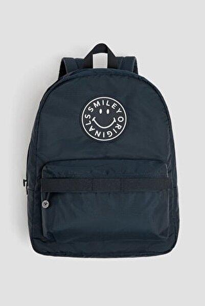 Kadın Mavi Smiley Logolu Sırt Çantası 14039640