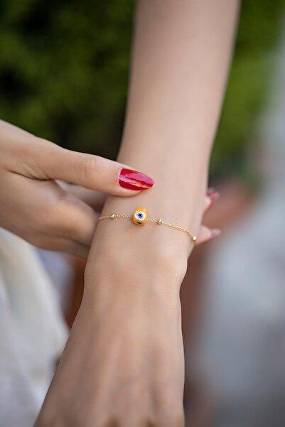 İzla Design Turuncu Nazarlık Model Altın Kaplama Toplu Zincir Gümüş Bileklik