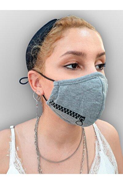MOF Fermuar Baskılı Gri Melanj Maske