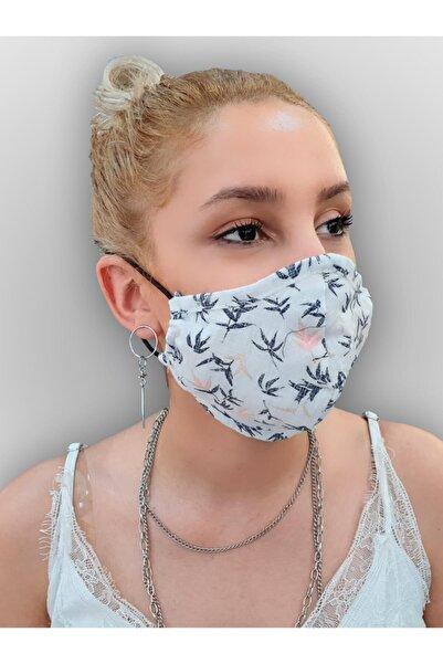 MOF Mavi Ince Yaprak Baskılı Beyaz Maske