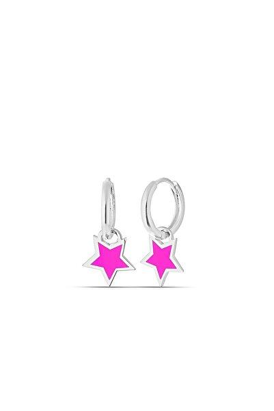 MySilvers Pembe Neon Yıldız Gümüş Küpe