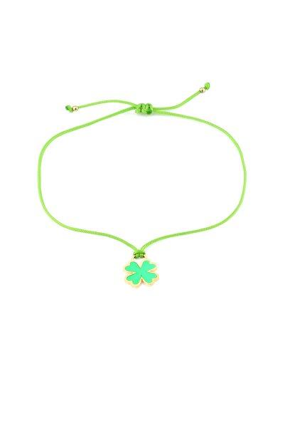 MySilvers Yeşil Neon Yonca Ipli Gümüş Halhal