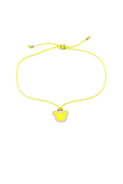 MySilvers Sarı Neon Micky Ipli Gümüş Halhal
