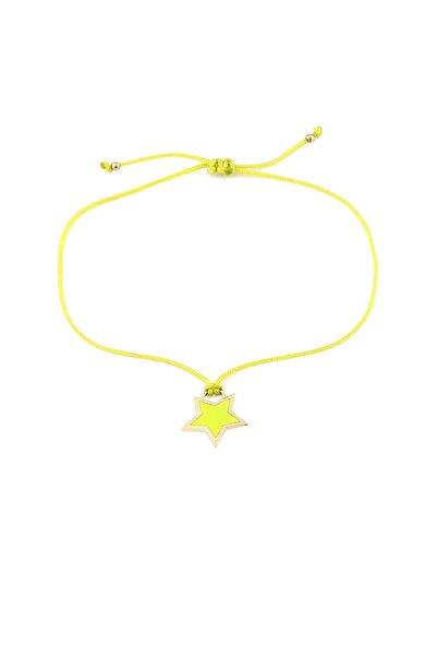 MySilvers Sarı Neon Yıldız Ipli Gümüş Halhal