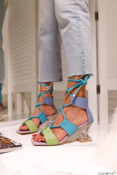 Limoya Kadın Bebe-mavi Lila Yeşil Bilekten Bağlamalı Şampanya Topuklu Ayakkabı