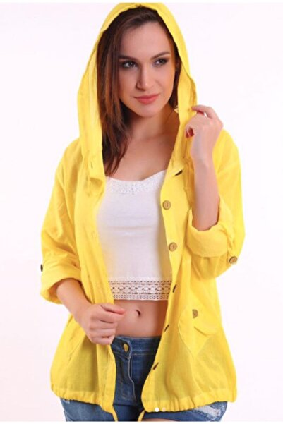 NBB Kadın Sarı Etnik Bohem Kopüşonlu Keten Gömlek Ceket