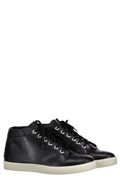 Collezione Erkek Siyah Bağcıklı Düz Taban Arka Parça Kroko Desenli Detaylı Bot