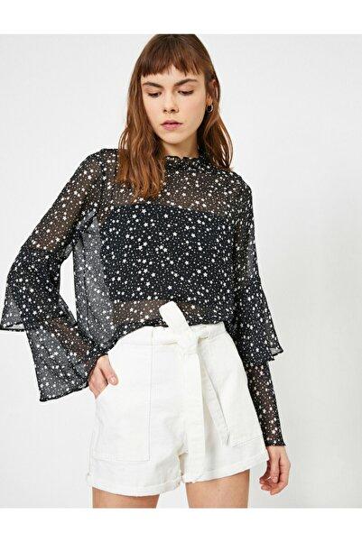 Koton Kadın Siyah Tül Detaylı Bluz 0YAL68236IW