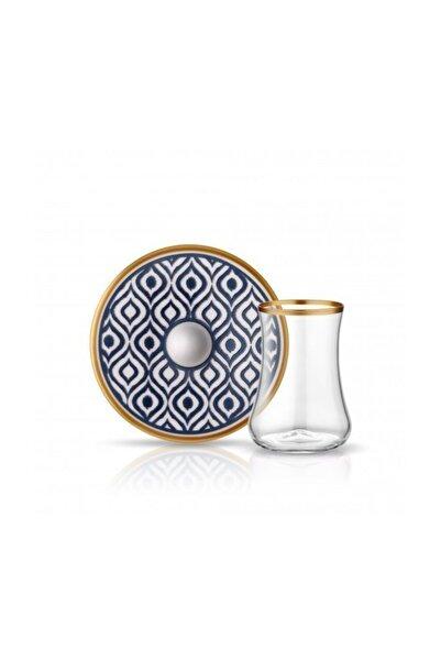 Koleksiyon1 Dervish Antrasit Porselen Tabak Cam Çay Seti 6'lı Ikat