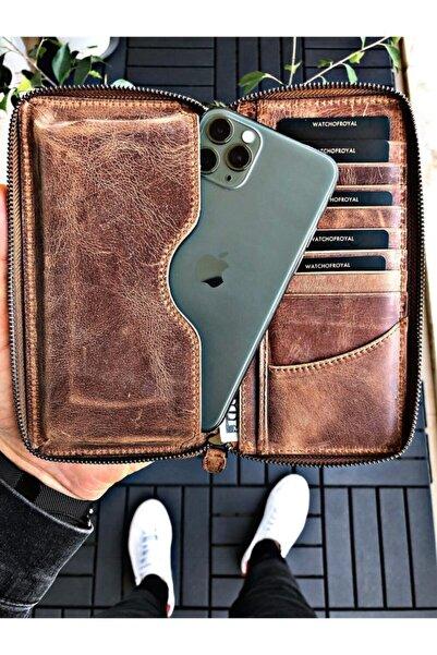 WATCHOFROYAL Unisex Taba Leon Crazy Telefon Cüzdanı