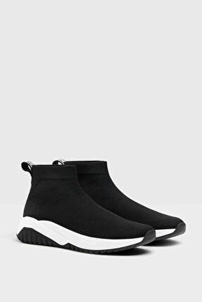 Kadın Siyah Çorap Model Fileli Bilekli Spor Ayakkabı