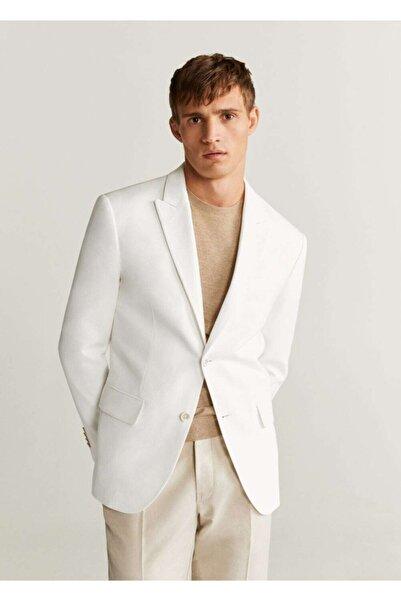 MANGO Man Erkek Beyaz Dar Kesimli Kalıplı Pamuklu Blazer Ceket