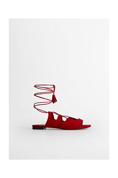 Violeta by MANGO Kadın Kırmızı Deri Bantlı Sandalet 67065976