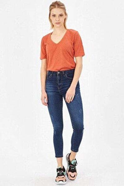 Kadın Lacivert Taşlanmış Lazerli Yüksek Bel Likralı Pantolon
