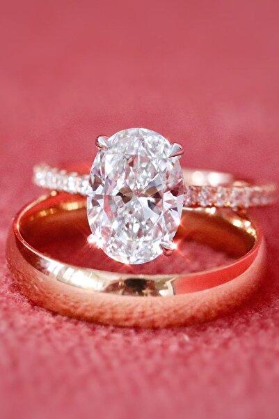 Crystal Diamond Zirconia Labaratuvar Pırlantası 1 Carat Oval Tektaş Ve Alyans Yüzük