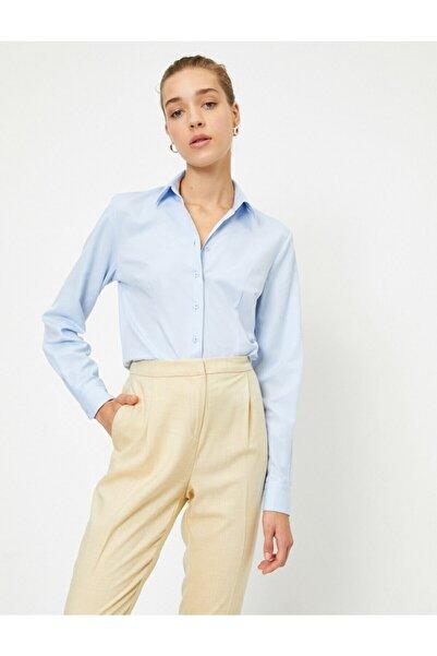 Koton Kadın Mavi Uzun Kollu Gömlek