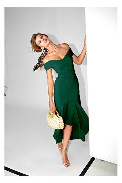 LE NOIR Kadın Yeşil Shona Elbise