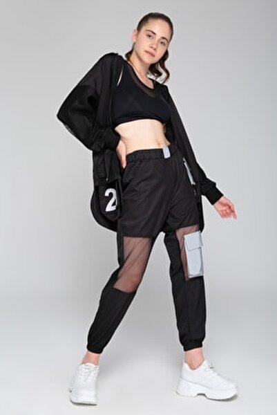 Kadın Siyah Gri Reflöktörlü Tül Detaylı Pantalon