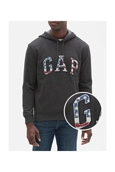 GAP Erkek Gri Logo Kapüşonlu Sweatshirt 535291