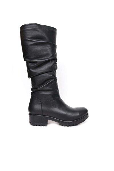 BUENO Shoes Fermuarlı Büzgü Detaylı Hakiki Deri 4,5 Cm Kadın Topuklu Çizme 9m0102