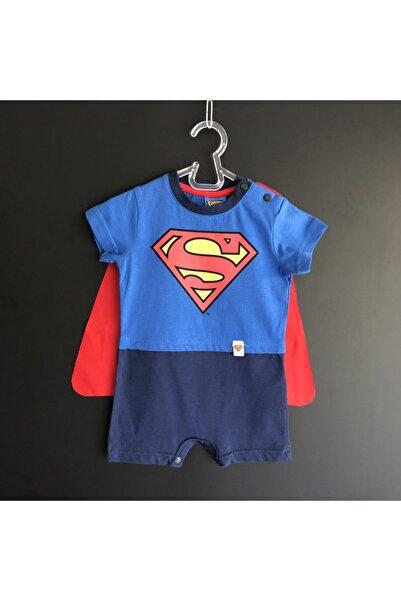 Superman Erkek Bebek Mavi Süpermen Pelerinli Tulum