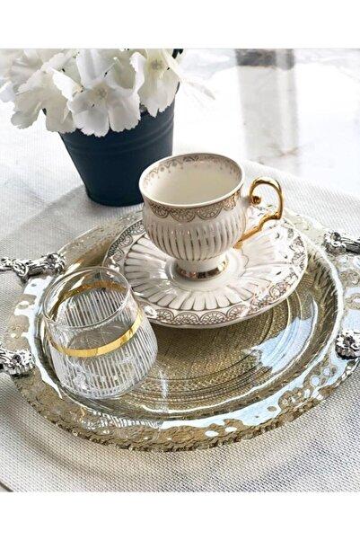 Paşabahçe El Dekorlu 6 Kişilik Kahve Yanı Cam Su Bardağı Seti, Çeyizlik Set, Hediyelik Set