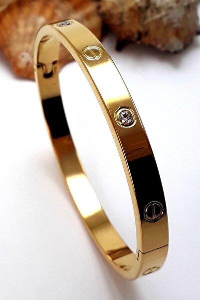 Bin1Gecem Takı Zirkon Taşlı Paslanmaz Çelik Cartier Bileklik Bilezik 18 Cm
