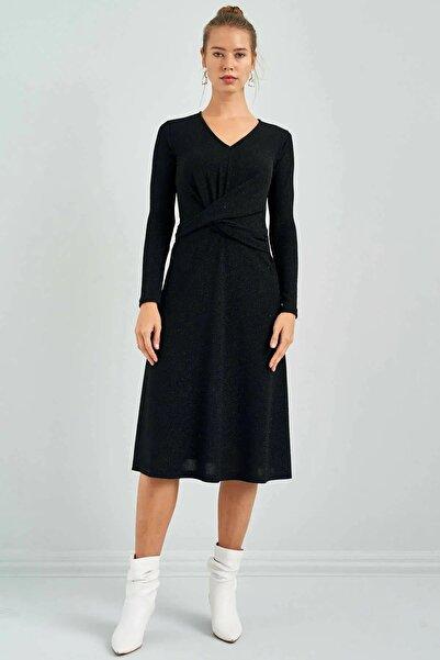 Simli Siyah Kruvaze Yaka Elbise