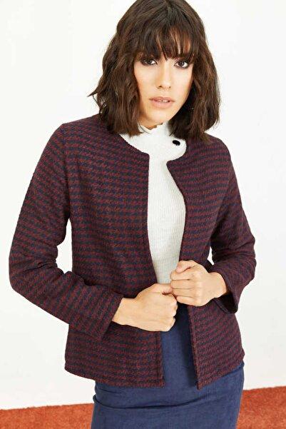 Bianco Lucci Kadın Bordo Kazayağı Desen Kaşe Ceket