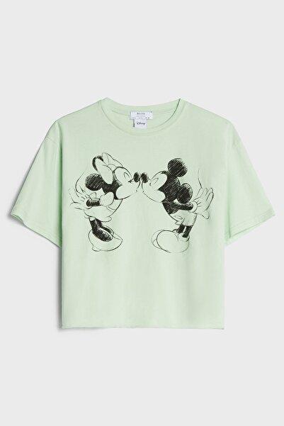 Bershka Crop Fit Mickey Mouse Baskılı T-shirt