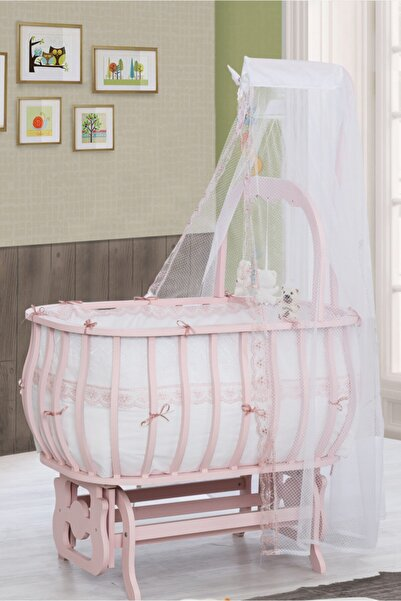 Setay Beşik, Mdf Sepet Beşik Oyuncaklı Pembe + Yatak + Cibinlik, Bebek Odası