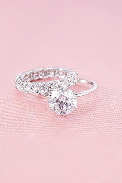 Crystal Diamond Zirconia Labaratuvar Pırlantası 3 Carat Tektaş Ve 1 Carat Tamtur Yüzük