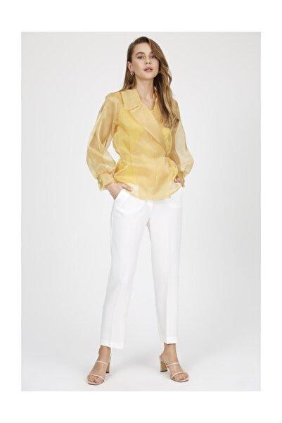Setre Sarı V Yaka Astarlı Uzun Kollu Organze Gömlek