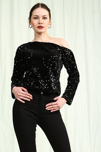 Collezione Kadın Siyah Boğazlı Uzun Kollu Crop Bluz
