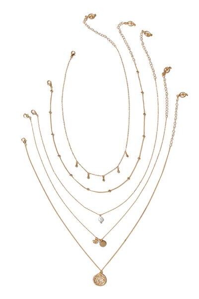Stradivarius Kadın Sarı 5'Li Madalyonlu Ve Suni İncili Kolye Seti 03080004