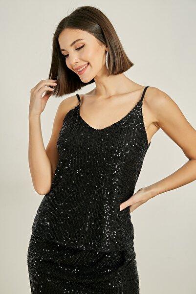 Sateen Kadın Siyah Pullu Askılı Bluz