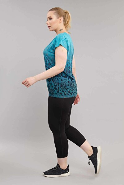 Kadın Mavi Büyük Beden Pamuklu T-shirt Es-4223