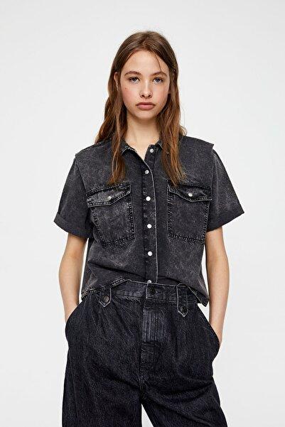 Pull & Bear Kadın Orta Gri Gri Bleached Gömlek 05474330