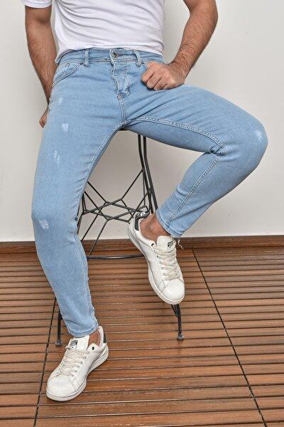 Erkek Buz Mavi Skinny Fit Likralı Bilek Boy Jean