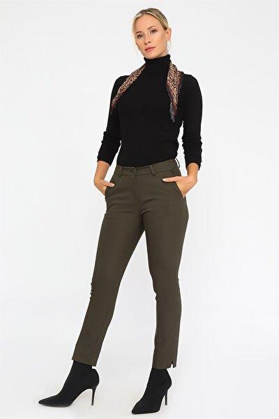 Chima Kadın Haki Paçası Yırtmaçlı Pantolon