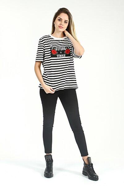 Collezione Kadın Siyah Yüksek Bel Skinny Denim Pantolon