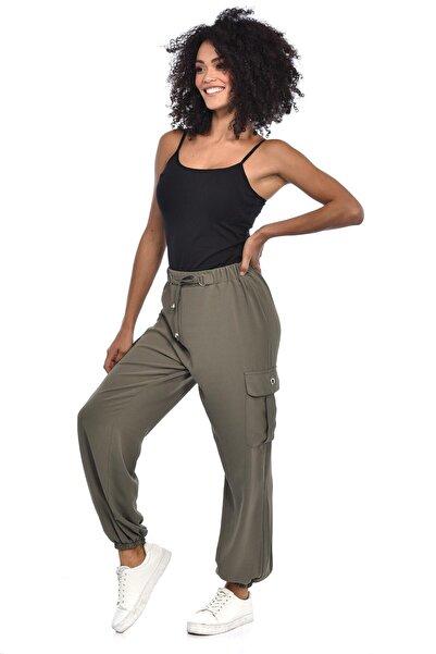 Kadın Haki Kargo Cep Pantolon