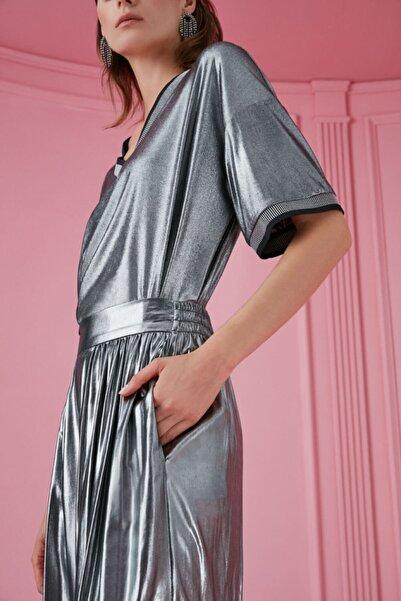Nocturne Kadın Gümüş Metalik Bol Paça Pantolon N20K-3119-0026