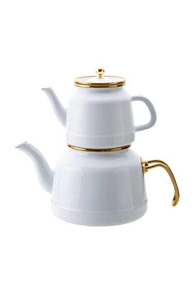Troy Emaye Çaydanlık Takımı Beyaz