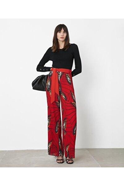 İpekyol Kadın Kırmızı Yüksek Bel Desenli Pantolon